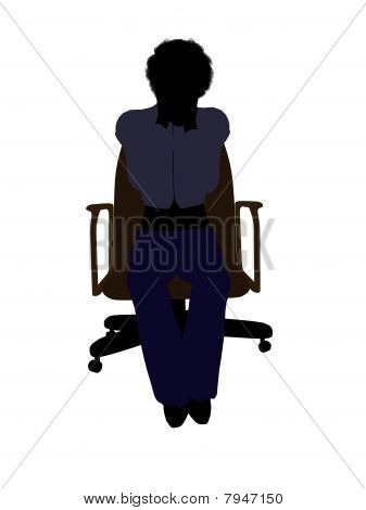 Female Executive Sitting On An Office Chair Illustration Silhouette