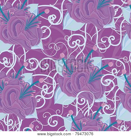 seamless violet background with purple flowers