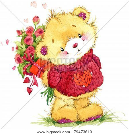 Valentine Day. Teddy Mishka.fon For Congratulation Festive Decorations. Watercolor Illustration