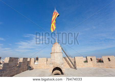 Flag of Valencia on Torres de Serranos Towers