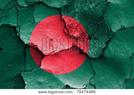 Flag Of Bangladesh Painted On Cracked Wall