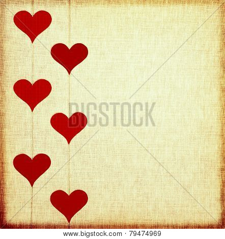 Decorative hearts on vintage background