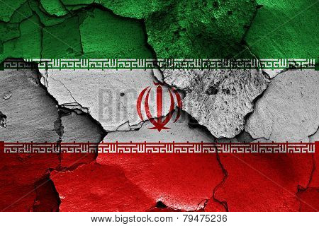 Flag Of Iran Painted On Cracked Wall