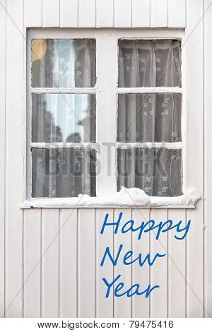 White Wooden Window - Happy New Year