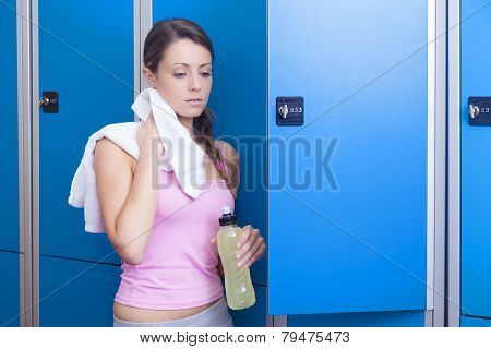 Fitness Woman Resting In Dressing Room