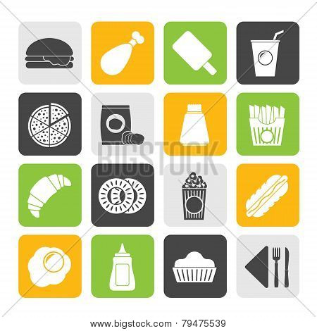 Silhouette fast food and drink icons