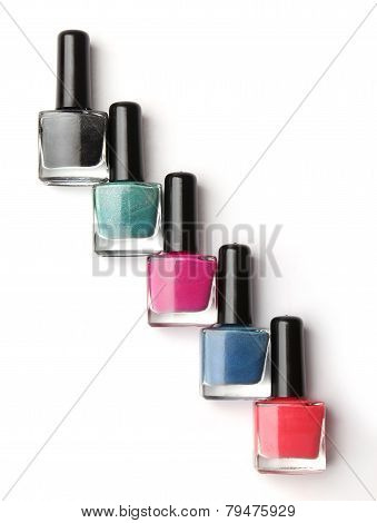 Group of nail polishes isolated on white background