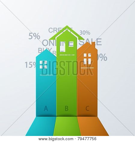 Vector modern real estate infographic background.