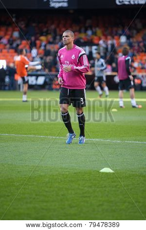 VALENCIA, SPAIN - JANUARY 4: Pepe during Spanish League match between Valencia CF and Real Madrid at Mestalla Stadium on January 4, 2015 in Valencia, Spain