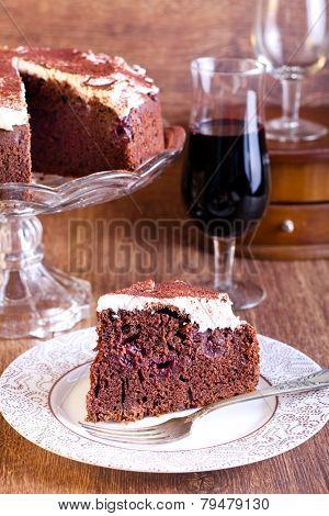 Chocolate, Red Wine And Cherry Cake