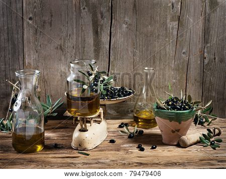 Balance Scale Fresh Olives And Olive Oil