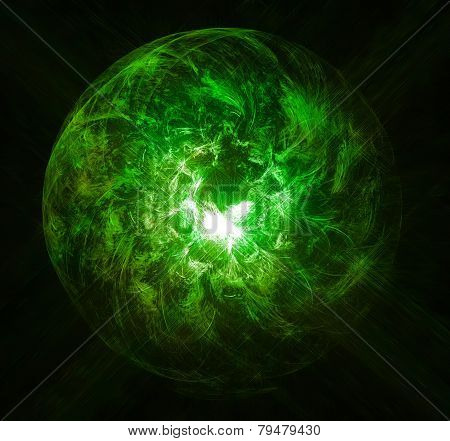Magic ball burning green flame