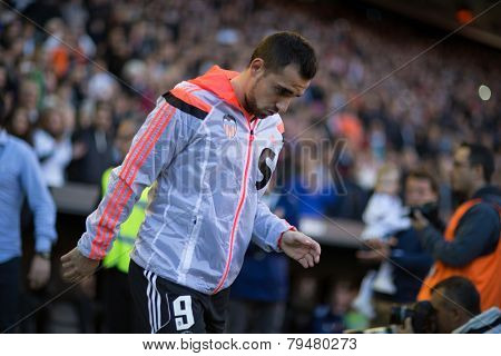 VALENCIA, SPAIN - JANUARY 4: Alcacer during Spanish League match between Valencia CF and Real Madrid at Mestalla Stadium on January 4, 2015 in Valencia, Spain