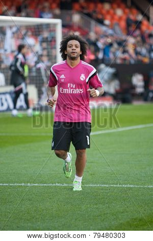 VALENCIA, SPAIN - JANUARY 4: Marcelo during Spanish League match between Valencia CF and Real Madrid at Mestalla Stadium on January 4, 2015 in Valencia, Spain