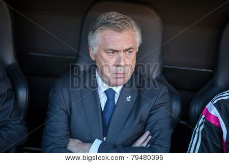 VALENCIA, SPAIN - JANUARY 4: Carlo Ancelotti during Spanish League match between Valencia CF and Real Madrid at Mestalla Stadium on January 4, 2015 in Valencia, Spain