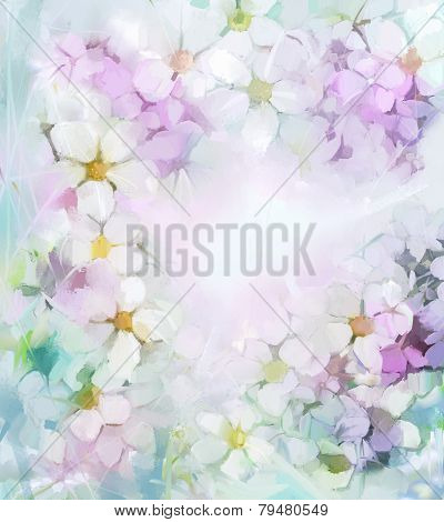 Oil Painting Flowers In Soft Color And Blur Style