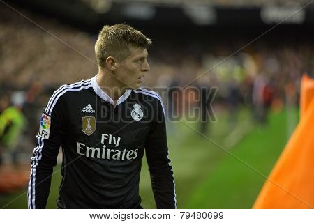 VALENCIA, SPAIN - JANUARY 4: Kroos during Spanish League match between Valencia CF and Real Madrid at Mestalla Stadium on January 4, 2015 in Valencia, Spain