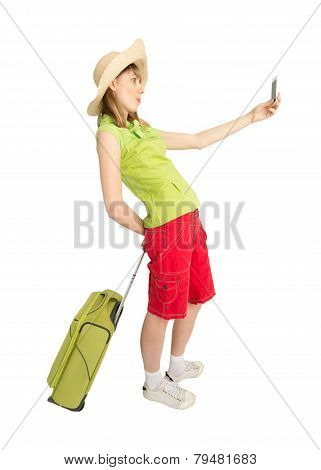 Funny Girl Tourist With Green Suitcase Make Photo.
