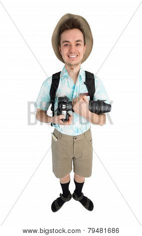 Funny Man Photographer With Camera And Backpack.