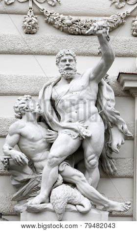 VIENNA, AUSTRIA - DECEMBER 10: Hercules statue at the Royal Palace Hofburg, Vienna, Austria on December 10, 2011.