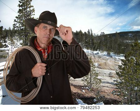 Cowboy Working Outside In Winter