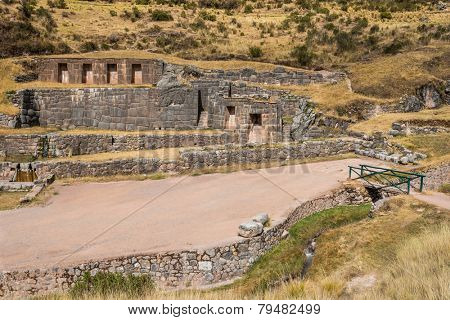 Tambomachay, Incas ruins in the peruvian Andes at Cuzco Peru