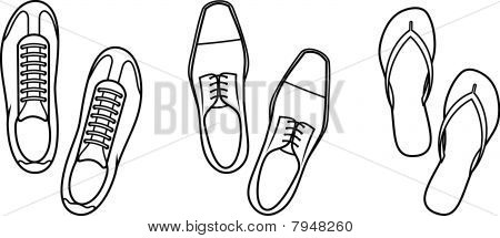 Sneakers, Shoes and Slippers - Vector Illustration