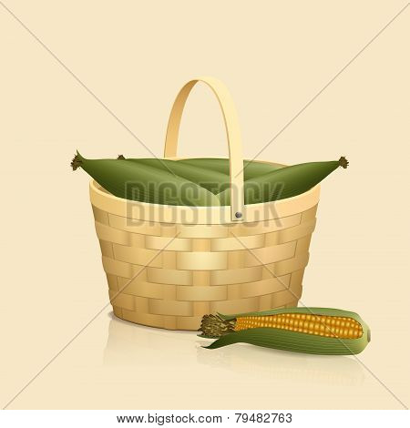 Straw Basket With A Handle And Reflection