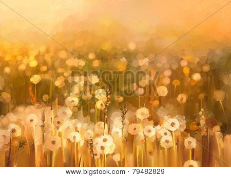 Oil Painting Daisy-chamomile Flowers Field