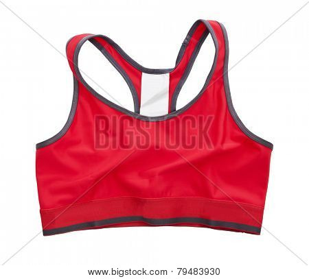 Red Sports Bra isolated on white background