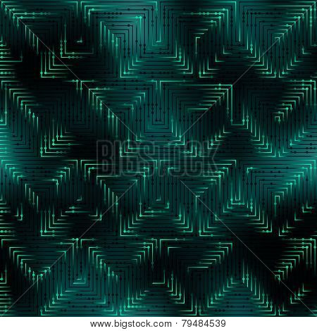 Abstract green pattern in matrix technology style
