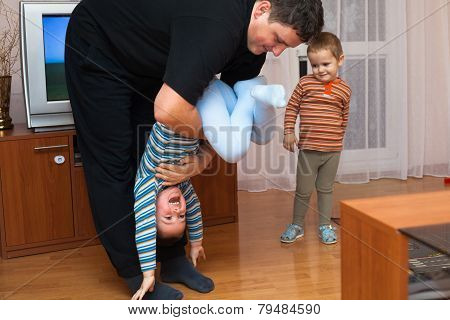 Playful Father And Child Boy