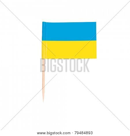 Toothpick Flag Ukraine. Paper Ukrainian flag . Isolated on white background