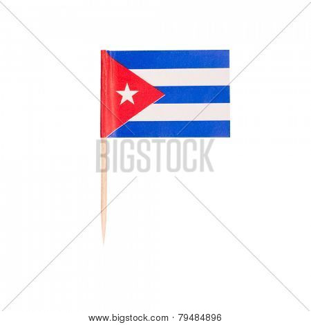 Toothpick Flag Cuba. Paper Cuban flag . Isolated on white background