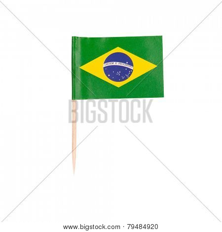 Toothpick Flag Brazil. Paper Brazilian flag . Isolated on white background