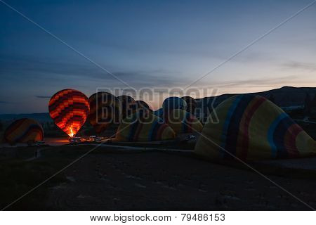 Preparation For Balloons Take-off