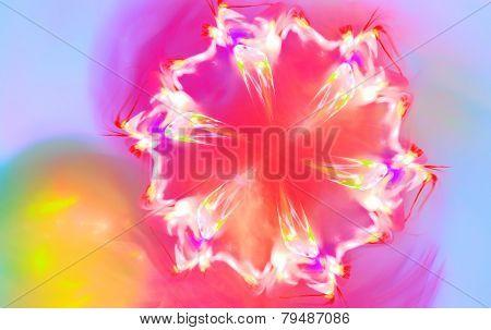 Snowflake that looks like spring flower. Fractal art graphics.