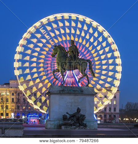 Place Bellecour Statue Of King Louis Xiv, Lyon