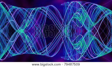 Cobweb whirls abstract blue color symmetric swirl on the basis of the dark
