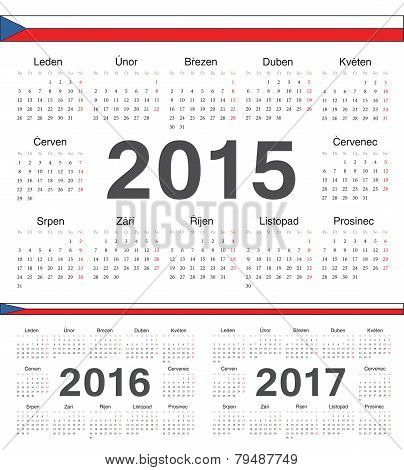 Vector Czech Circle Calendars 2015, 2016, 2017