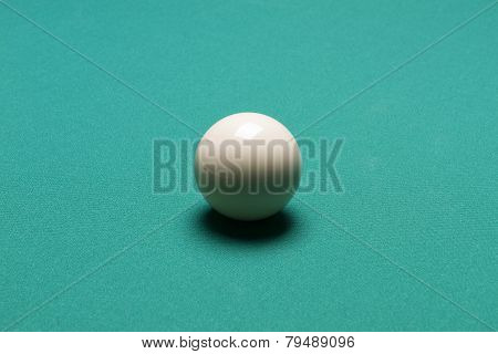 White Ball In A Billiard Table In Club