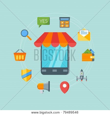 Flat Design Concept For Online Shopping And M-commerce. Vector Illustration For Web Banners And Prom
