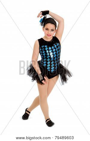 Jazz Dancing Child In Harlequin Recital Costume