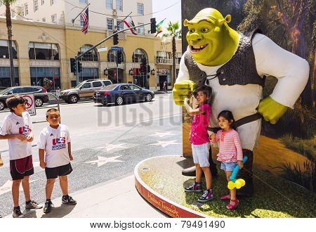 Happy Girls Close To Shrek
