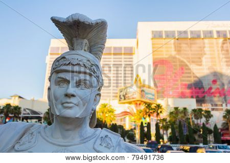 Gladiator Statue In Front Of Luxurious Hotel