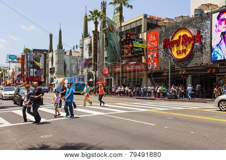 Tourists Crossing The Street In Hollywood