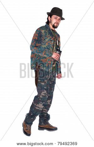 Friendly Hunter With Dagger Holding Binocular