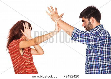 Woman Covering Face From Violent Husband