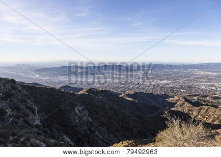 Morning mountaintop view towards Burbank, Griffith Park and Los Angeles, California
