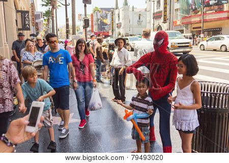 Taking Pictures With Spiderman At Hollywood